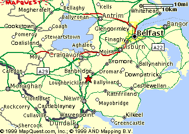 Map of the Banbridge area